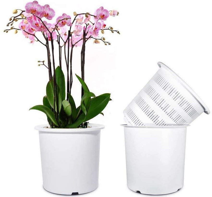 Mkono 7 Inch Plastic Orchid Pots Set with Holes and Mesh
