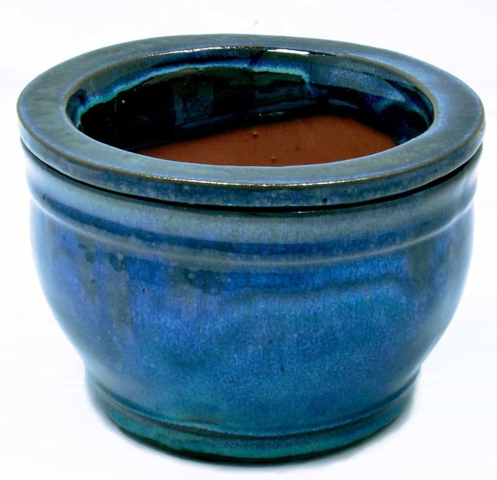 Blue Self Watering Ceramic Planter